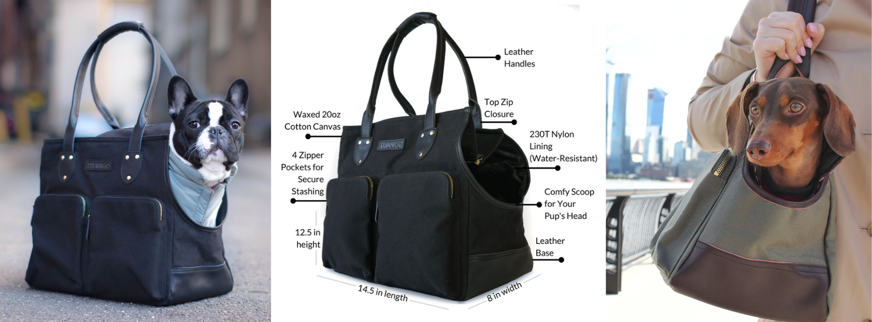 DJANGO Best Selling Waxed Canvas and Leather Dog Carrier Bag for Puppies and Small Dogs - djangobrand.com