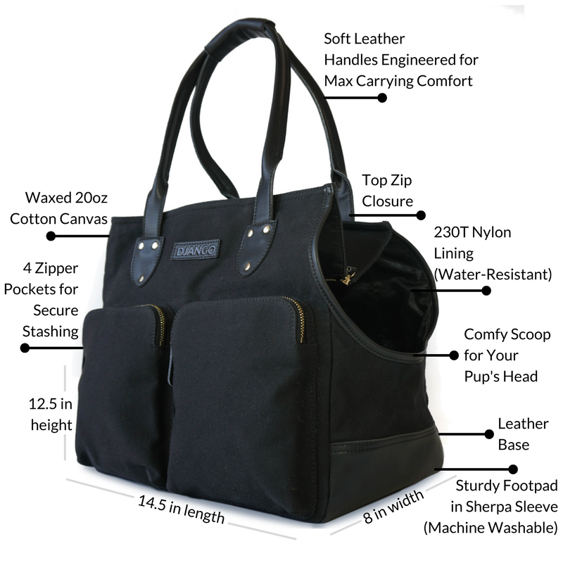 DJANGO Metro Pet Tote Waxed Cavnas and Leather and Nylon Dog Travel Carrier - djangobrand.com