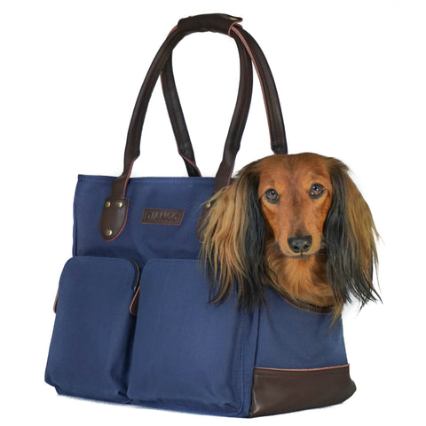 DJANGO Waxed Canvas and Leather Dog Carrier Bag Purse Pet Tote