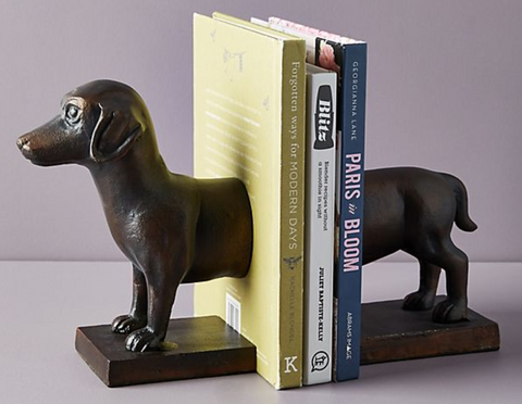 dachshund bookends made of handcast aluminum