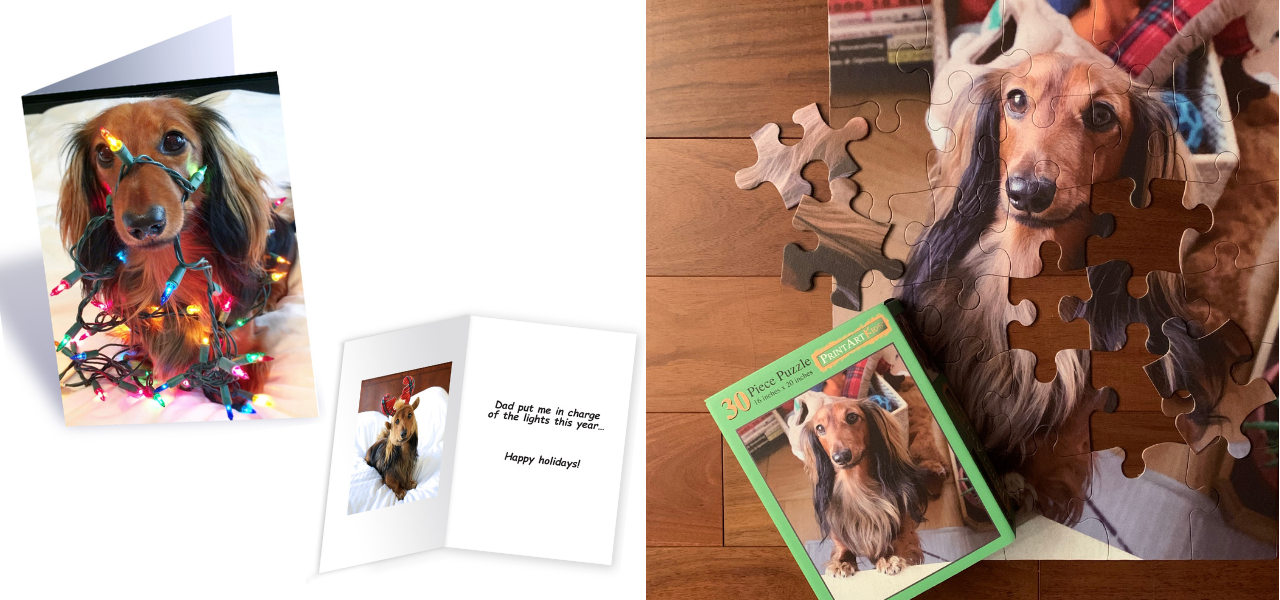 Django's Custom holiday cards and puzzle from PrintArtKids.com