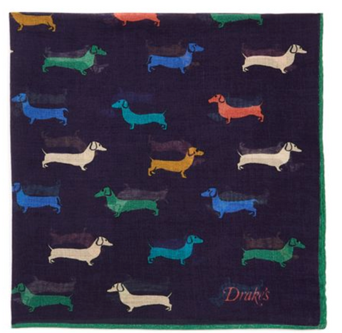 Drake's | Multicolor Dachshund Print Pocket Square | Available at bloomingdales.com
