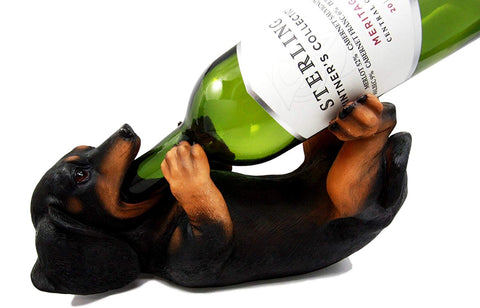 "Ebros Black and Tan Sausage Wiener Dachshund Dog Wine Bottle Holder Dog Wine Caddy Figurine 11"" L"