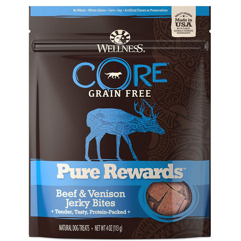 Wellness Core Pure Rewards Natural Grain Free Dog Treats, Soft Beef & Venison Jerky Bites