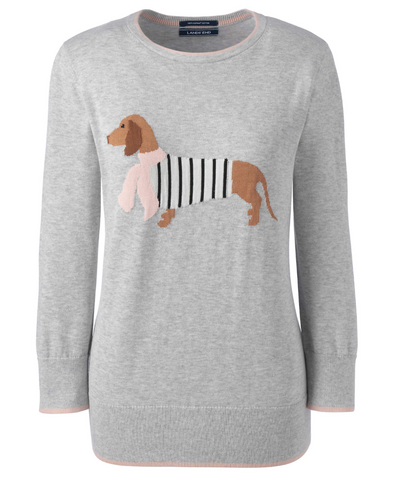 Women's 3/4 Sleeve Supima Cotton Sausage Dog Dachshund Sweater