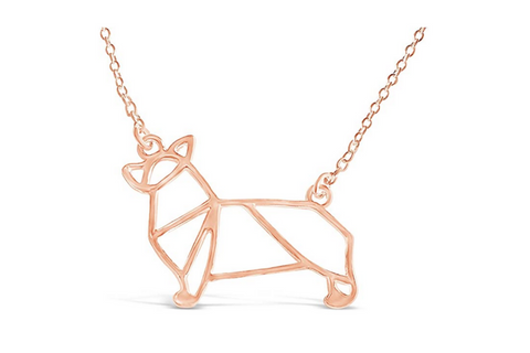 Best corgi gifts - rose gold corgi necklace for women