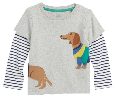 Boden USA Grey Marl Sausage Dog Layered Animal Friends T-shirt
