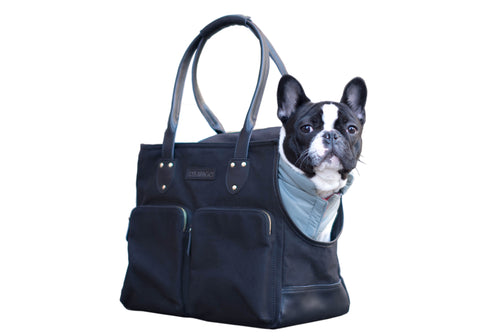 DJANGO Waxed Canvas and Leather Dog Carrier Tote Bag