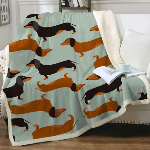 dachshund sausage sherpa throw blanket