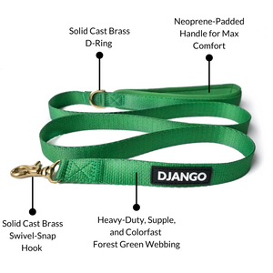 DJANGO Adventure Dog Leash in Forest Green – Strong, Comfortable, and Stylish Dog Leash with Solid Brass Hardware and Padded Handle - Designed for Outdoor Adventures and Everyday Use - djangobrand.com