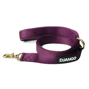 DJANGO Adventure Dog Leash Plum Purple – Strong, Comfortable, and Stylish Dog Leash with Solid Brass Hardware and Padded Handle - Designed for Outdoor Adventures and Everyday Use - djangobrand.com
