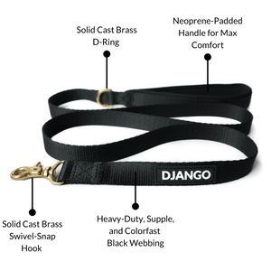 DJANGO Adventure Dog Leash in Black – Strong, Comfortable, and Stylish Dog Leash with Solid Brass Hardware and Padded Handle - Designed for Outdoor Adventures and Everyday Use