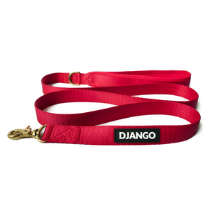 DJANGO Adventure Dog Leash in Crimson Red – Strong, Comfortable, and Stylish Dog Leash with Solid Brass Hardware and Padded Handle - Designed for Outdoor Adventures and Everyday Use - djangobrand.com