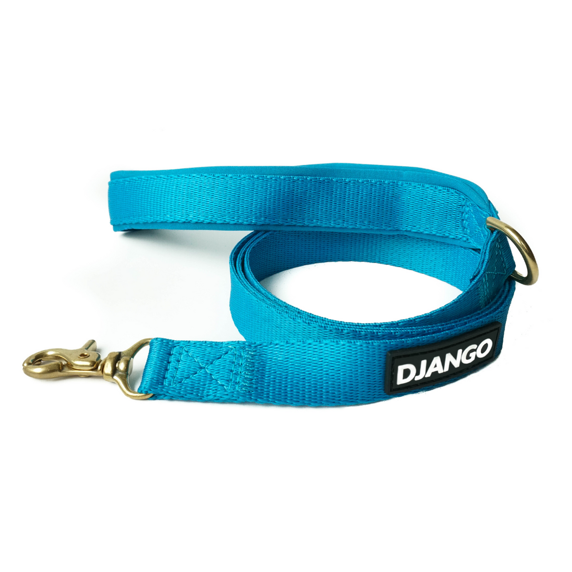 DJANGO Adventure Dog Leash in Pacific Blue – Strong, Comfortable, and Stylish Dog Leash with Solid Brass Hardware and Padded Handle - Designed for Outdoor Adventures and Everyday Use - djangobrand.com