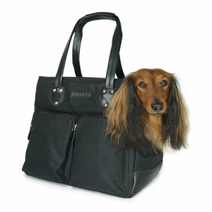 DJANGO Dog Carrier Bag - Waxed Canvas and Leather Pet Travel Tote in Black - djangobrand.com