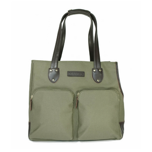 DJANGO Dog Carrier Bag - Waxed Canvas and Leather Pet Travel Tote in Olive Green - djangobrand.com