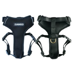 Django Adventure Dog Harness - Comfortable Neoprene Everyday and Weather-Resistent Dog Harness in Black - djangobrand.com