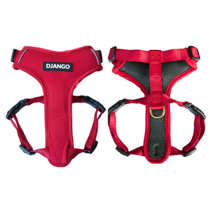 Django Adventure Dog Harness - Comfortable Neoprene Everyday and Weather-Resistent Dog Harness in Crimson Red - djangobrand.com