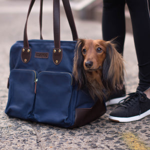 DJANGO Dog Carrier Bag - Waxed Canvas & Leather Dog Carry Bag - Navy Blue