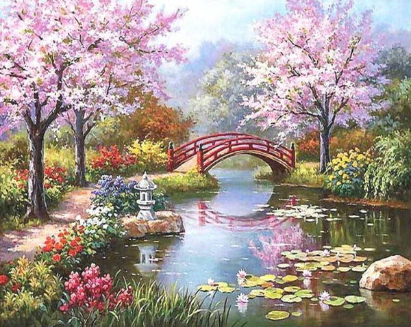 Cherry Blossom Bridge - Van-Go Paint-By-Number Kit