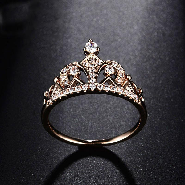 Cubic Zirconia Princess Crown Ring