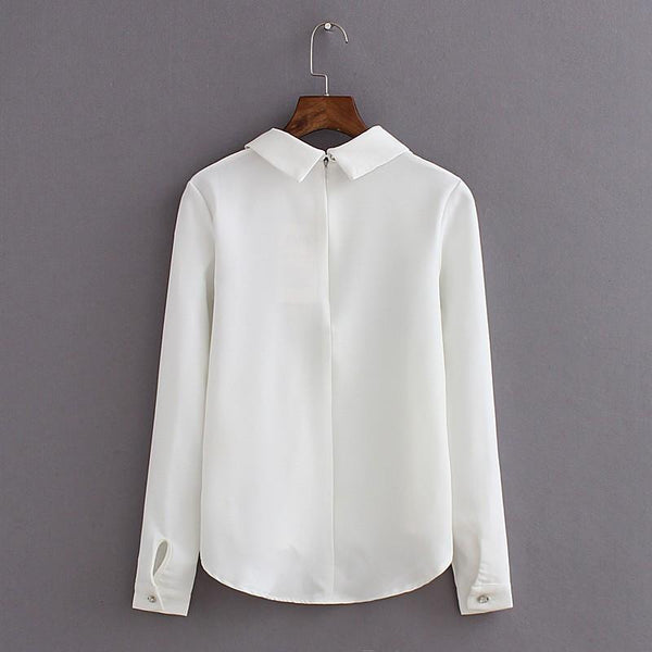 Cat Chiffon Long-Sleeve Blouse