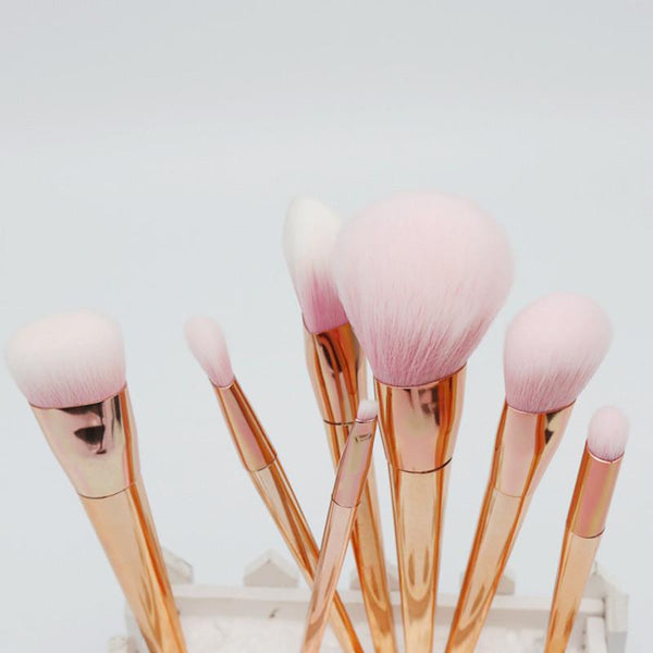 Rose Gold Contour Makeup Brushes - 7 Piece Set