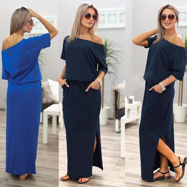 Emma™ Side Slit Maxi Dress - With Pockets