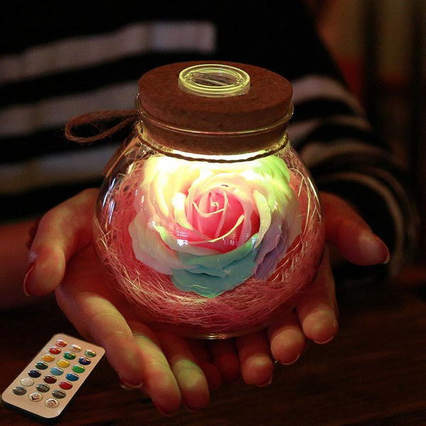 Beautiful Bloom   LED Rose Bottle Lamp