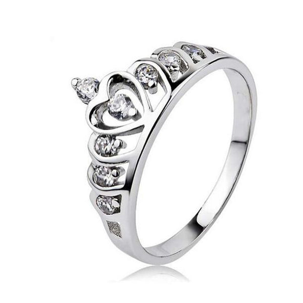 Silver Princess Crown 925 Austrian Crystal Ring