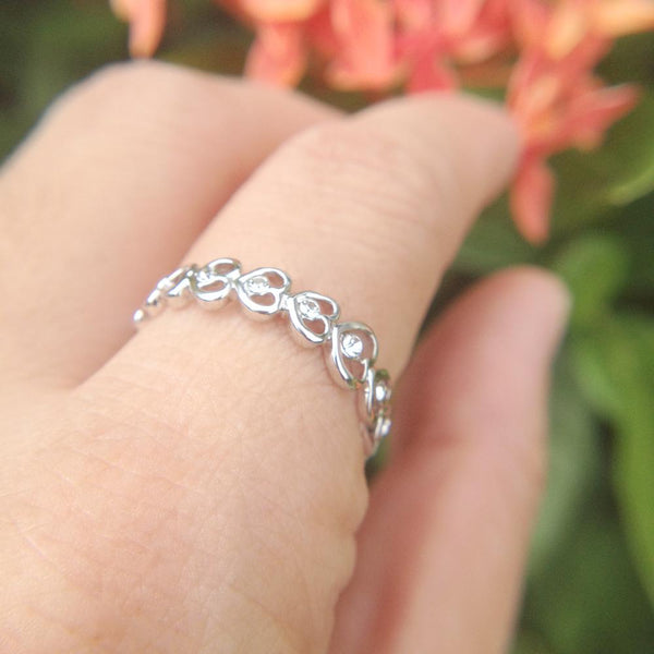 Crystal Heart Chain Ring