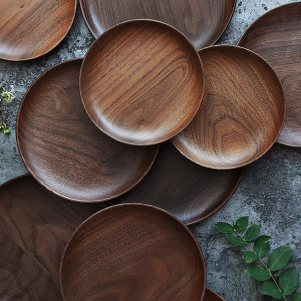 Hand-Made Round Natural Wooden Plates & Hand-Made Round Natural Wooden Plates \u2013 Sugar \u0026 Cotton