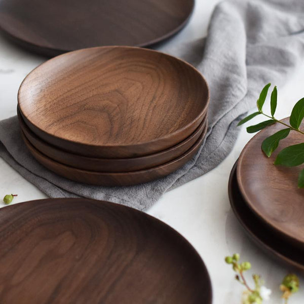 Hand-Made Round Natural Wooden Plates & Hand-Made Round Natural Wooden Plates u2013 Sugar u0026 Cotton
