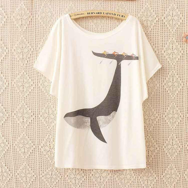 Cats Riding a Whale - Loose T-Shirt