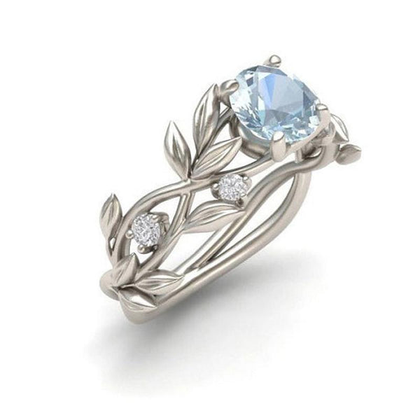 Vine Leaf Crystal Flower Vintage Ring