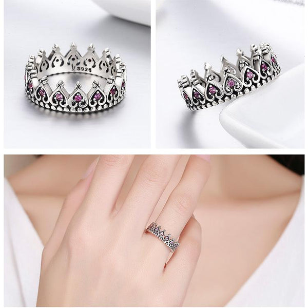 Sterling Silver Pink Crown Heart Ring