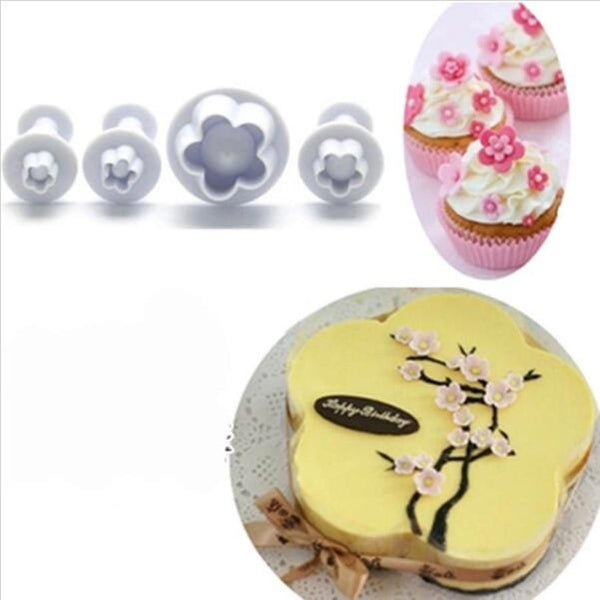 4 Piece Set - Plum Flower Shape Pastry Decorating Tools