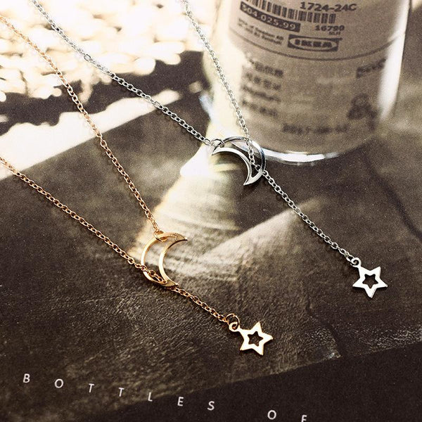 Moon & Star Hanging Drop Necklace