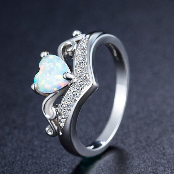 Oval Cut Heart Fire Opal Ring