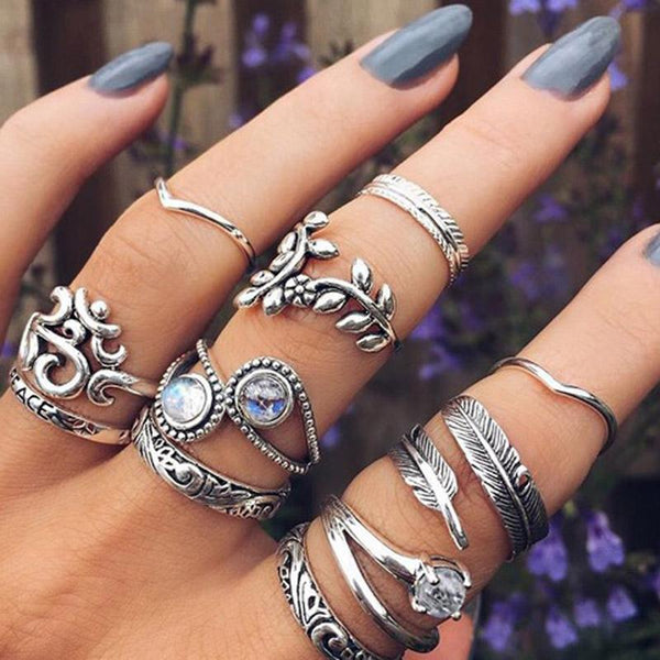 Chunky Boho Midi Ring Sets