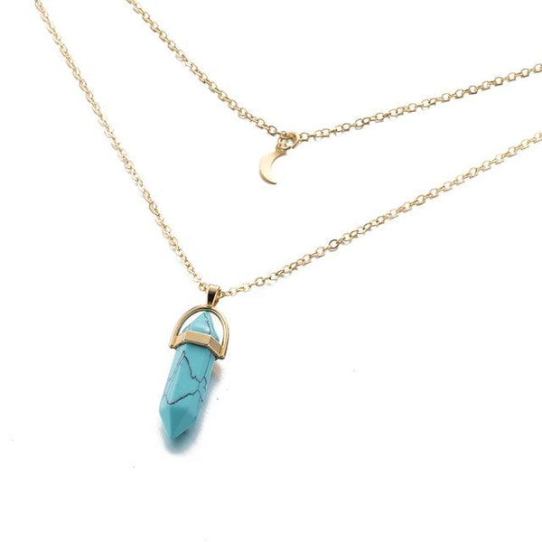 Multi Layered Moon & Crystal Drop Pendant Necklace