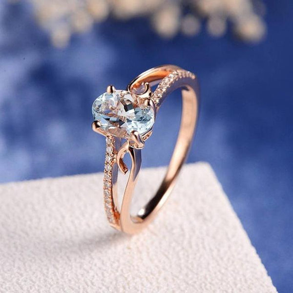 Oval Cut Rose Gold Double to Single Band Ring