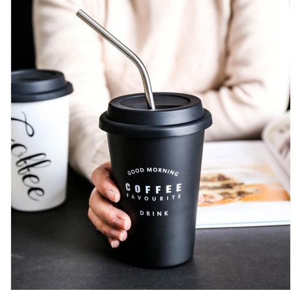 Travel Mug with Lid & Reusable Straw