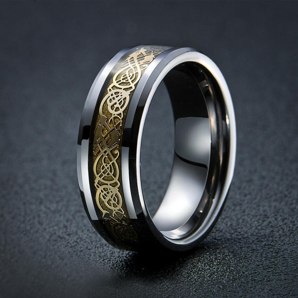 Dragon's Breath - Steel Viking Ring