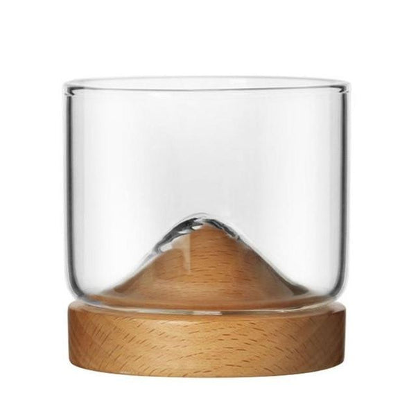 Houston - Wooden Base Whiskey Mountain Glass