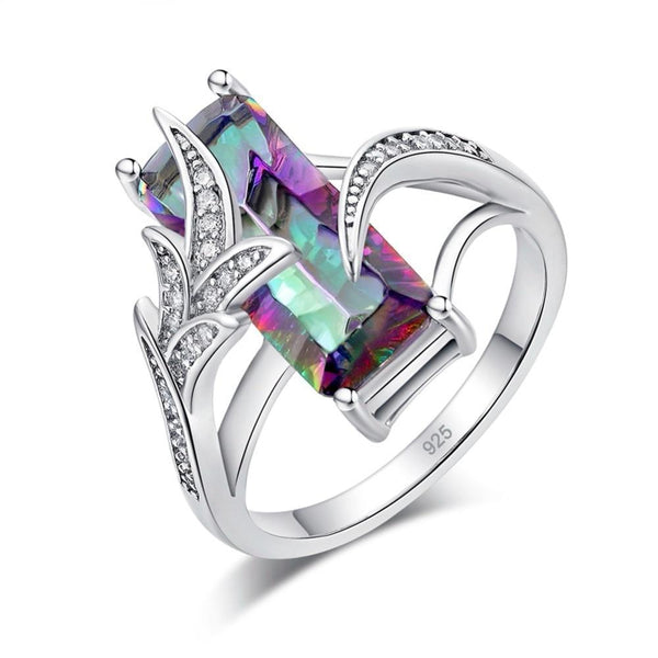Mystic Topaz Silver Plated Ring