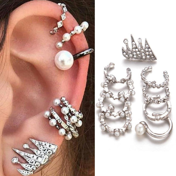 Jazzy - 9 Piece Set Pearl Punk Clip Earrings