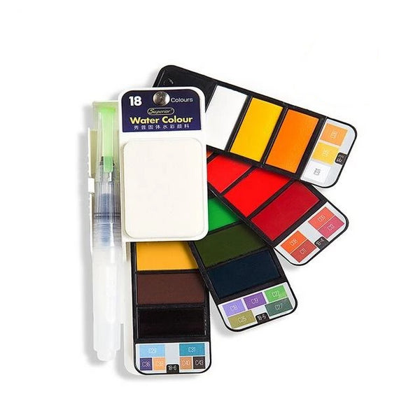 Watercolor Paint Set with Water Brush & Pigment