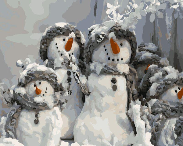 Joyful Snowman Family - Van-Go Paint-By-Number Kit