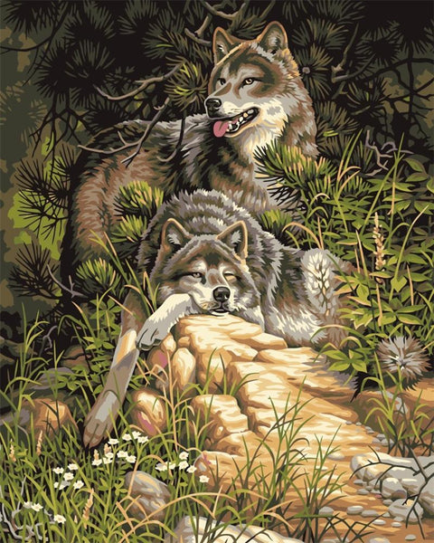 Lounging Wolves - Van-Go Paint-By-Number Kit